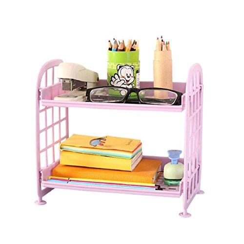 Naladoo Double Layer Desktop Storage Rack Organizer Cosmetic Stationery Storage Holder Bathroom Shelf Corner Storage for Kitchen Bathroom Office (Purple)