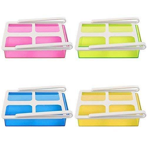 Plastic Refrigerator Storage Rack (Multicolour) -Set of 4
