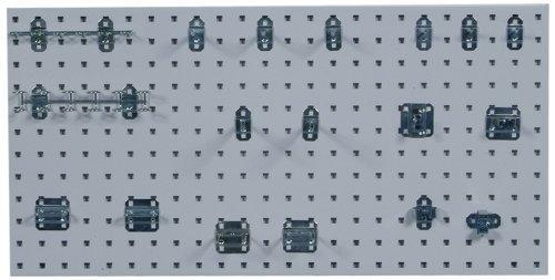 New triton products1 18 in w x 36 in h x 9 16 in d white epoxy 18 gauge steel square hole pegboards with 18 pc lochook assortment and includes mounting hardware