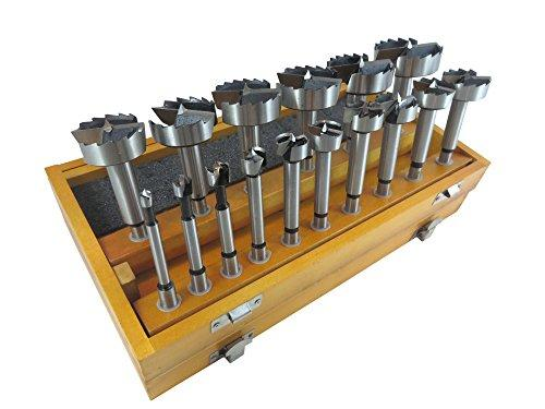 16 Piece Forstner Drill Bit Set With Bits From 1/4  To 2-1/8 By 1/8Ths Hardened Carbon Steel In Wooden Storage Box 402005