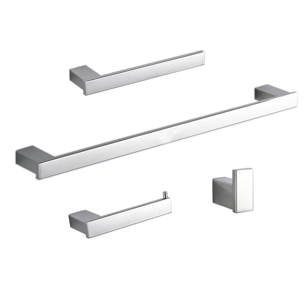 Beelee BA800SET1 SUS 304 Stainless Steel 4-Piece Bathroom Accessory Set RUSTPROOF Including Towel Bar Toilet Paper Holder Towel Ring Robe Hook Wall Mount Contemporary Square Style, Polish