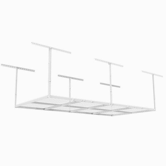 Adjustable Garage Ceiling Storage Racks Heavy Duty Durable Steel Construction Wire Sturdy Overhead Organized Simple System Mounted Hanging Storage Shelf Unit Bracket Hangers White & eBook By NAKSHOP