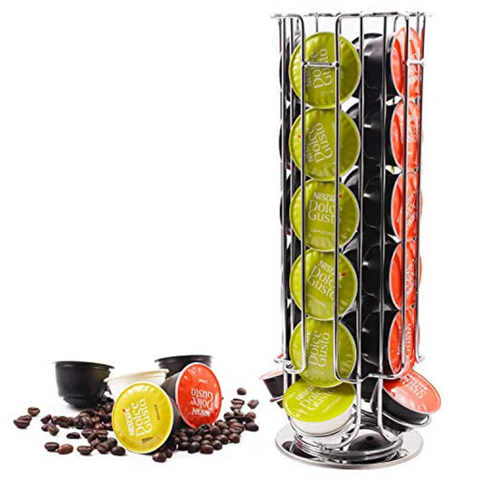 Coffee Pod Holder Organizer Rack Stand Tower for Dolce Gusto Capsule Dolce Gusto Rotating Coffee Pod Carousel Dispenser Storage Rack Holds 24 Coffee Pods Silver
