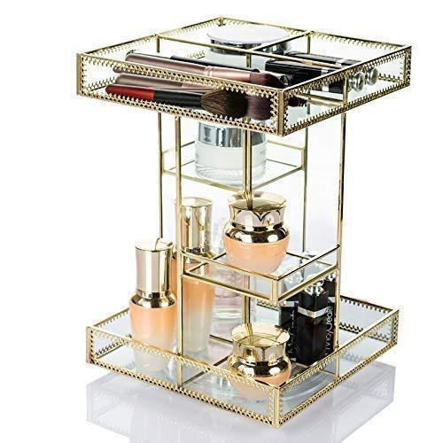 Display4top Antique Makeup Organizer,360 Degree Rotation Adjustable Jewelry Retro Countertop Cosmetic Storage Box,for Brushes Lipsticks Skincare Toner Perfume,Vanity Display (Gold)