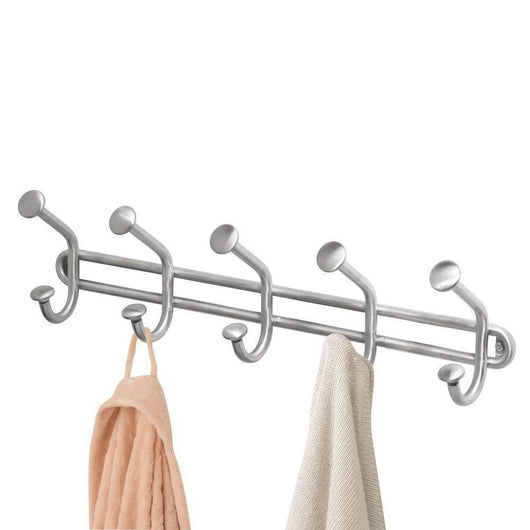 InterDesign Forma Wall Mount Storage Rack – Hanging Hooks for Jackets, Coats, Hats and Scarves - 5 Dual Hooks, Brushed Stainless Steel