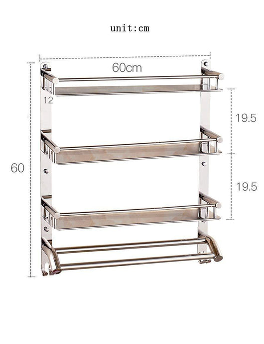 DEED Wall Hanging Mount Rack Toilet Stainless Steel Double Layer Three Shelf Bathroom Racks Wall Towel Rack Storage Rack,6060CM