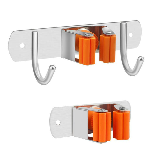 Vodolo Mop Broom Holder Wall Mount Garden Tool Organizer, Stainless Steel Duty Organizer for Kitchen Bathroom Closet Garage Office Laundry, Screw or Adhesive Installation, Orange