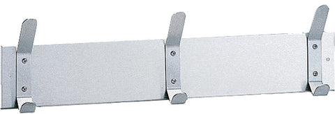 "Bobrick 232x24 304 Stainless Steel Hook Strip, Satin Finish, 24"" Length x 2-1/4"" Width x 6-1/2"" Height"