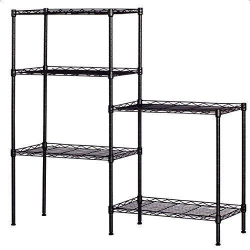 Detailorpin Changeable Assembly Floor Standing Carbon Steel Storage Rack Multipurpose Shelf Display Rack for Kitchen Garage Bedroom Storage Display Shelves(US Stock) (Black)