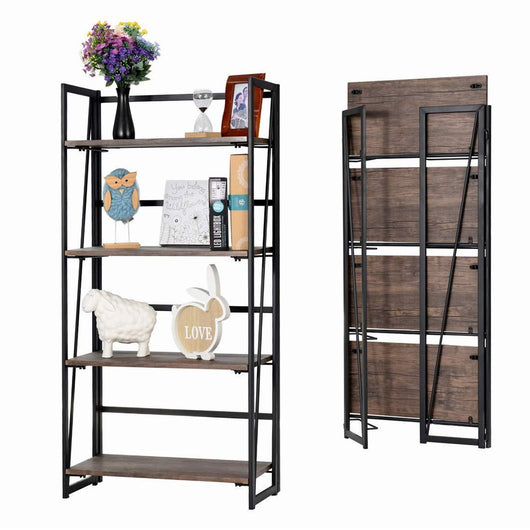 Good Life Folding Bookshelf Rack 4-Tiers Bookcase Rustic Decor Furniture Shelf Storage Rack No-Assembly Industrial Stand Sturdy Shelf Organizer for Home Office 23.5