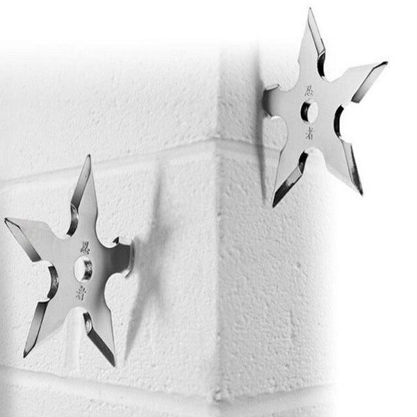 Coat Hooks Ninja Throwing Darts Star Stainless Steel Creative Wall Door Hook Clothes Hats Hanger Holder Home Decoration 5 Pcs