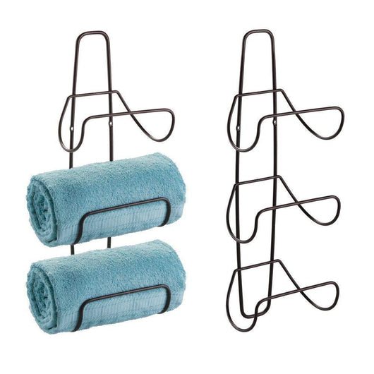 mDesign Metal Wall Mount 3 Level Bathroom Towel Rack Holder & Organizer - for Storage of Bath Towels, Washcloths, Hand Towels, Robes - 2 Pack - Bronze
