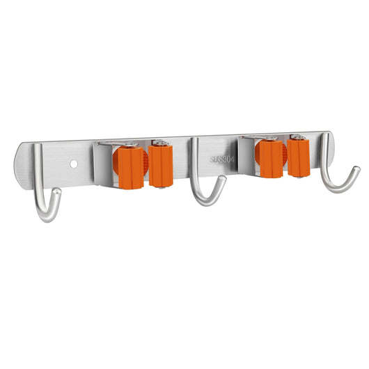 Vodolo Mop Broom Holder Wall Mount Garden Tool Organizer, Stainless Steel Duty Organizer with 2 Racks 3 Hooks for Kitchen Bathroom Closet Garage Office Laundry, Screw or Adhesive Installation, Orange