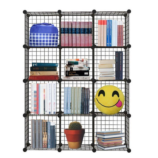 Genenic 12 Cube Closet Organizer, Garage Storage Racks Sets, Shelf Cabinet, Wire Grids Panels and Units for Books, Plants, Toys, Shoes, Clothes, Stainless Steel Black