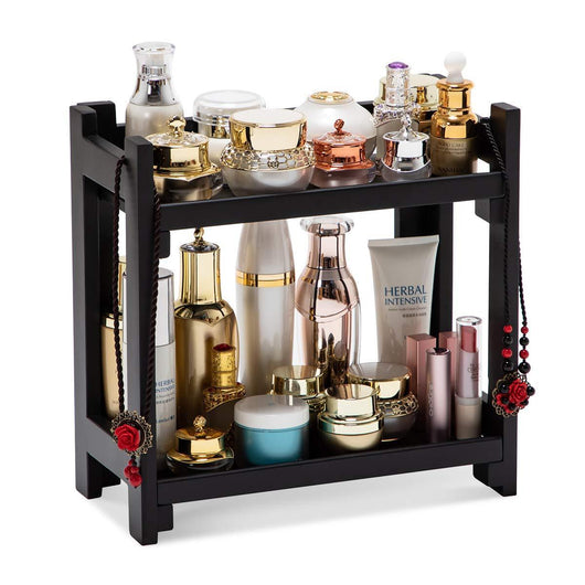 GOBAM Cosmetic Organizer Multi-Function Vanity Makeup Organizer Holder for Bathroom, Assemble Easily No Screws, Black Bamboo