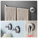 "Yohom Stainless Steel 3-Piece vacuum Suction Cup Bathroom Kitchen Hardware Accessory Set with 18.5"" Towel Bar Rack, 2 x Shower Robe Hooks Holder, Brushed Finish"