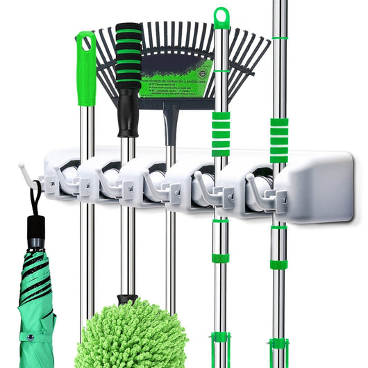 LETMY Broom Holder Wall Mounted - Mop and Broom Hanger Holder - Garage Storage Rack&Garden Tool Organizer - 5 Position 6 Hooks for Home, Kitchen, Garden, Tools, Garage Organizing