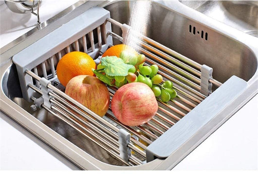 LXJYMXKitchen storage rack multi-function rack Stainless steel sink single row frame, telescopic drain basket dish drain rack, grey