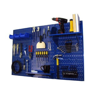New pegboard organizer wall control 4 ft metal pegboard standard tool storage kit with blue toolboard and blue accessories