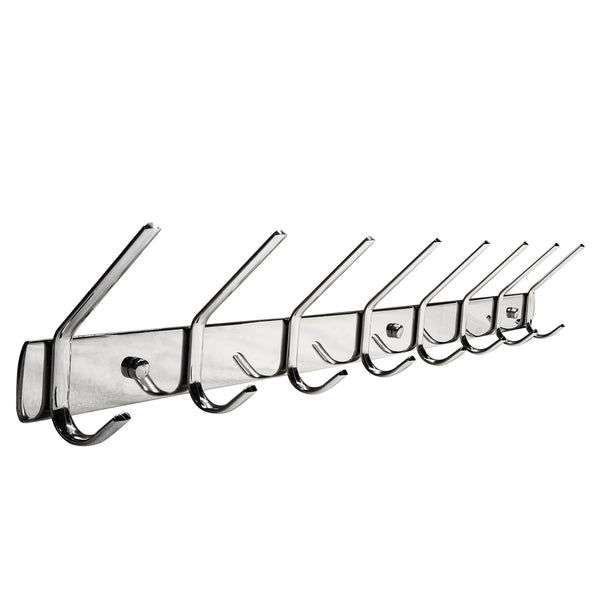 WEBI SUS304 Heavy Duty 8-peg Large Coat Hat Hooks Robe Bath Kitchen Towel Utensil Utility Garment Rack Hanger Rail Holder, Wall Mount Bedroom Entryway Garage Bathroom Home Organization, Polished