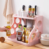 Double Kitchen Seasoning Storage Rack Floor Stand