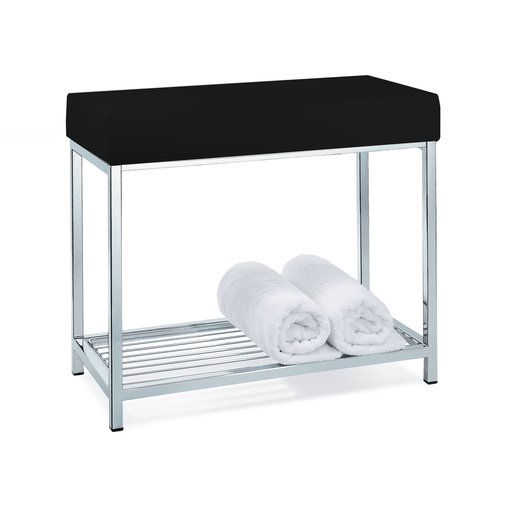 DWBA Backless Vanity Stool Bench, With Chrome Metal Legs and Storage Rack Shelf