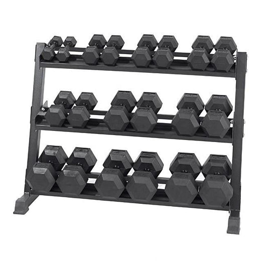 Element Fitness 5-50lb Virgin Rubber Hex Dumbbell Set w/ Stand