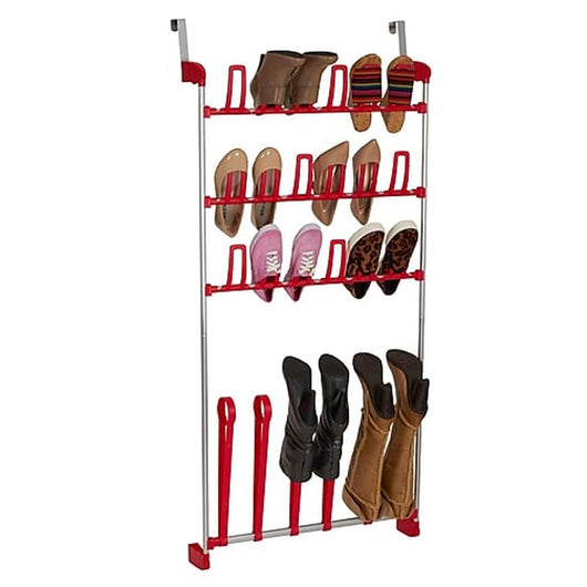 Over The Door Shoe Storage Boot Rack- Red