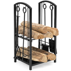 5-Piece Firewood Log Rack Holder Tools Set w/ Hook, Broom, Shovel, Tongs
