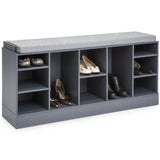 Shoe Storage Rack Bench w/ Padded Seat, 10 Cubbies