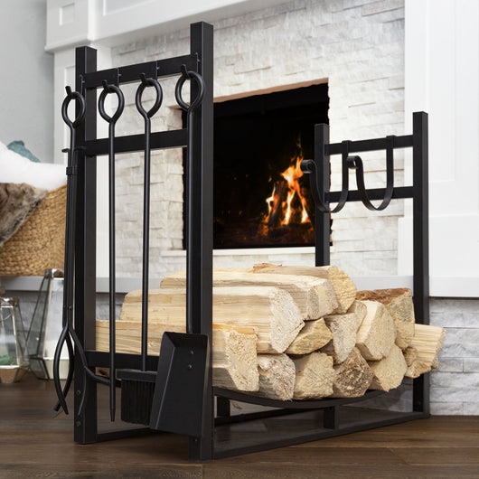 Firewood Log Storage Rack Accessory w/ Kindling Holder - Black