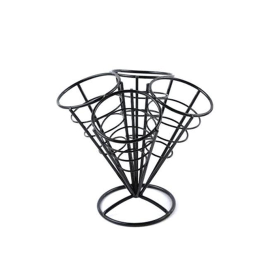 4In1 French Fry Stand Cone Basket Holder Black Iron Rack Ice Cream Shape Food Shelves Bowl Kitchen Potato Fries Chips Appetizers