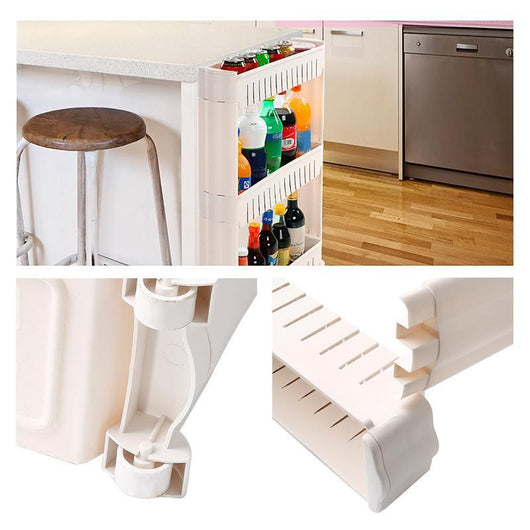 3 LAYERS MULTIPURPOSE SHELF WITH REMOVABLE WHEELS