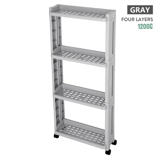 For kitchen storage rack fridge side shelf 3/4 layer removable with wheels bathroom organizer shelf gap holder.