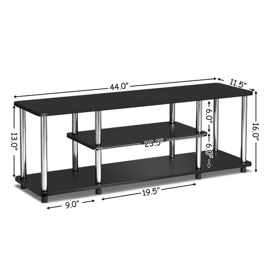 3-Tier 110lbs Stainless Steel Listed Universal TV Stand-Black