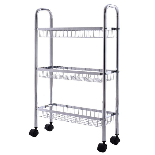 3-Tiers Metal Storage Rack Baskets Shelf