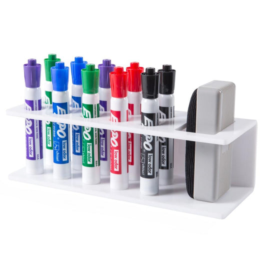 10-Slot White Acrylic Office Dry Erase Marker and Eraser Holder Organizer Storage Rack