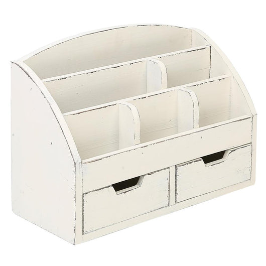 6 Compartment Vintage White Wood Desk Organizer with 2 Drawers