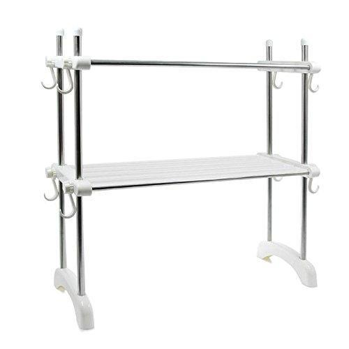&ZHOU Kitchen Supplies,Multi-Function Kitchen Double Layer Microwave Shelf, Stainless Steel Stand, Oven Rack, Storage Rack, Storage Rack