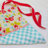 aqua-gingham-floral-baby-changing-pad