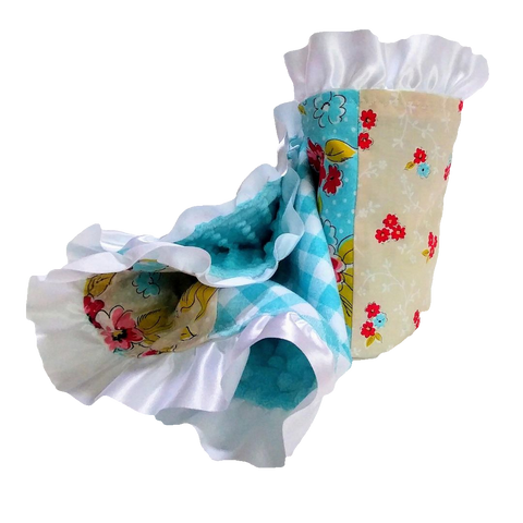 receiving-blanket-white-satin-ruffle-aqua-tan-red