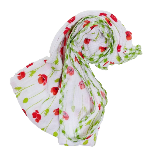swaddle-blanket-girl-red-poppies-green-gingham-trim-white
