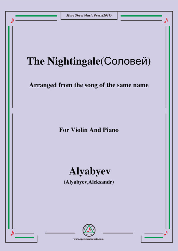 Alyabyev-The Nightingale(Соловей), for Violin and Piano