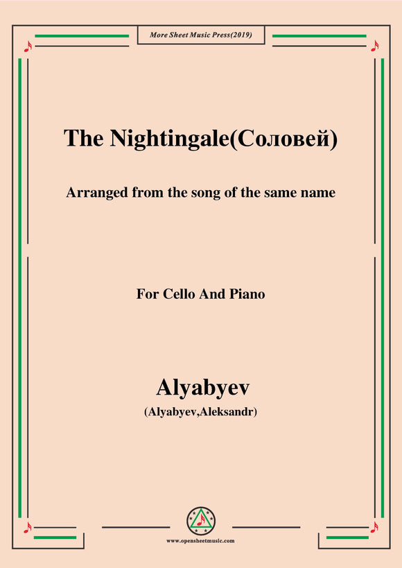 Alyabyev-The Nightingale(Соловей), for Cello and Piano
