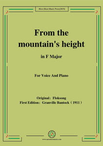 Bantock-Folksong,From the mountain's height(Hoch vom Dachstein)
