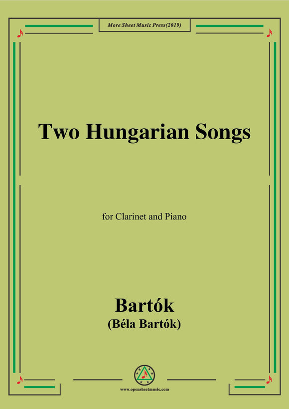 Bartók-Two Hungarian Songs,for Clarinet and Piano