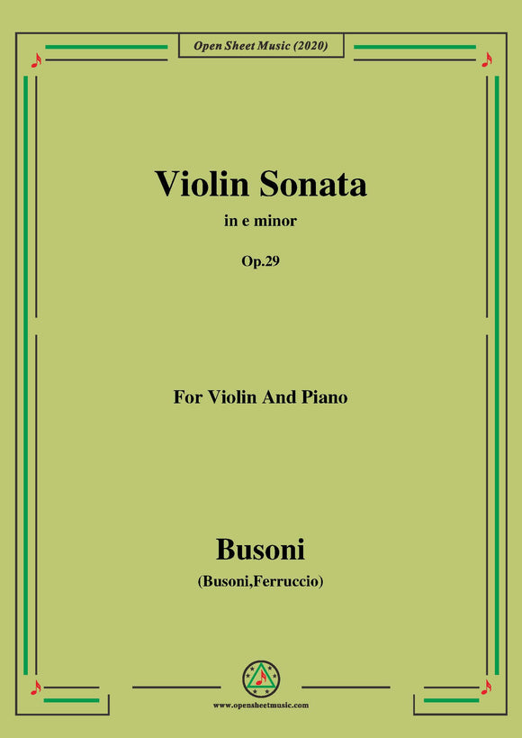 Busoni-Violin Sonata in e minor,Op.29