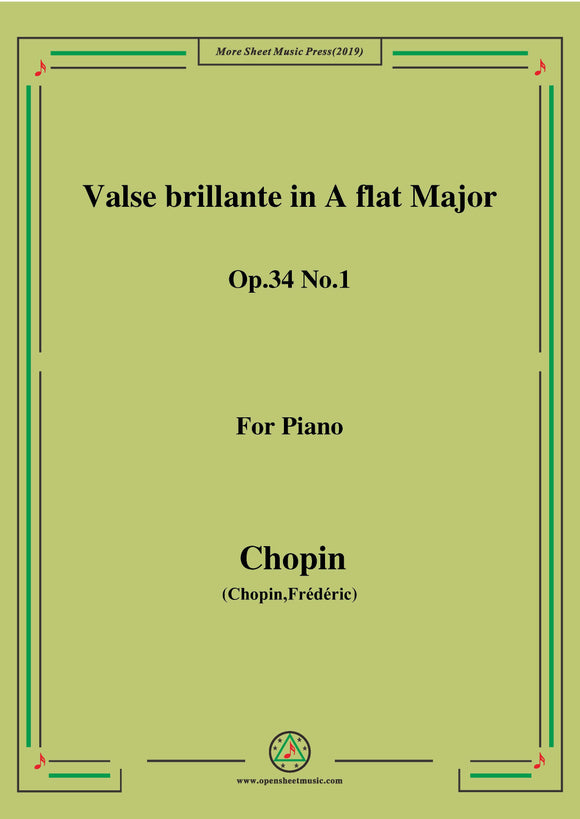 Chopin-Waltz No.2 in A flat Major,Op.34 No.1,Valse brillante1,for Piano
