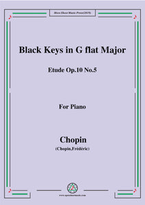 Chopin-Etude No.5 in G flat Major,Op.10 No.5,Black Keys 1,for Piano