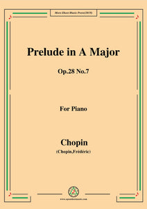 Chopin-Prelude Op.28 No.7 in A Major,for Piano
